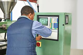 Checking temperatures on Injection Molding Machine